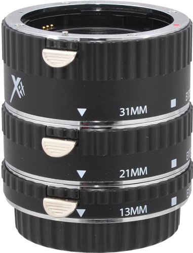 Xit XTETC Auto Focus Macro Extension Tube Set for Canon SLR Cameras (Black)