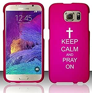 Samsung Galaxy S6 Edge Snap On 2 Piece Rubber Hard Case Cover Keep Calm and Pray On Cross (Pink)