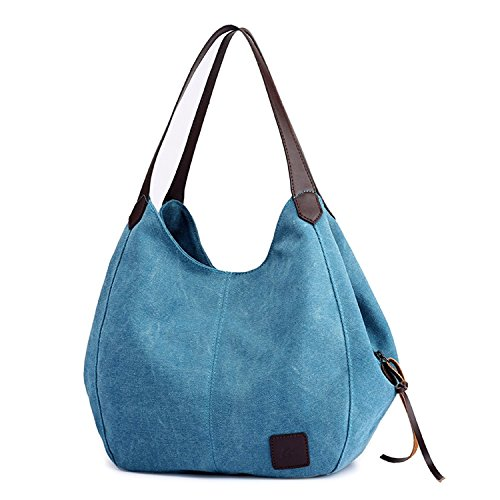 Fashion Women's Multi-pocket Cotton Canvas Handbags Shoulder Bags Totes Purses (1317 blue) by YZHYXS (Image #2)