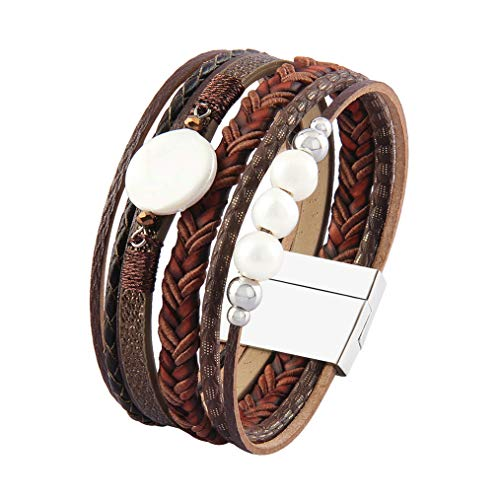 Jeilwiy Casual Leather Cuff Bracelet Pearl Wrap Bangle Shell Beads Handmade Bolo Bracelet for Women,Girls,Wife,Mother,Ladies,Lover Gift ()