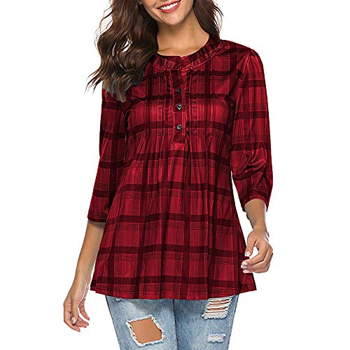 - TUSANG Women's Button-Down Plaid Shirts Ruffles Blouses Casual Tunic Tops 3/4 Sleeves Pullover Top Outwear(Red,XL)