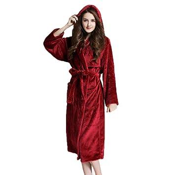 HGDR Mujeres Señoras Lujo Súper Suave Franela Bata De Baño Batas Toallas Albornoz Bata De Casa Ropa De Noche Vestidos con Capucha Y Cinturón,Red-M: ...