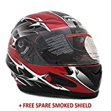 Motorcycle Full Face Helmet DOT Street Legal +2 Visors Comes with Clear Shield and Free Smoked Shield – Spikes RED 118S (Large)