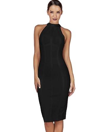 Maketina Women s High Neck Sleeveless Striped Bodycon Midi Cocktail Party Bandage  Dress Black XS d5930d907