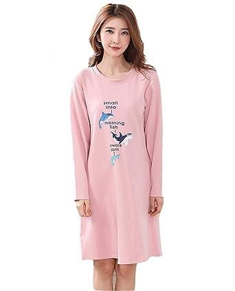 collection de remise États Unis style de la mode de 2019 DSJJ Chemise de Nuit Femme Coton Manches Longues Pyjama ...