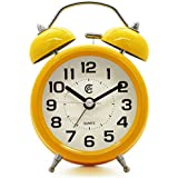 """JCC 3"""" Retro Twin Bell Silent Non Ticking Sweep Second Hand Bedside Desk Analog Quartz Alarm Clock with Nightlight and Loud Alarm, Battery Operated (Yellow)"""