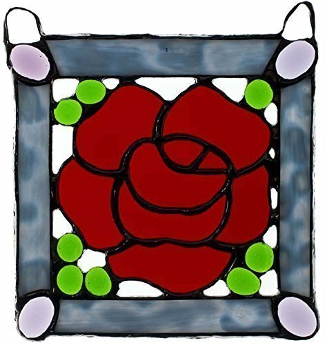 Red Rose Panel, green and lavender glass jewels, blue border, suncatcher, Valentines (Glass Lavender Suncatcher)