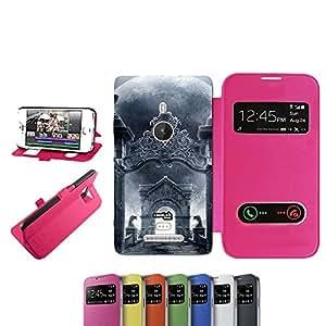 caselabdesigns Flip Carcasa Funda para Nokia Lumia 925arco de piedra fucsia–Funda protectora plegable de rosa