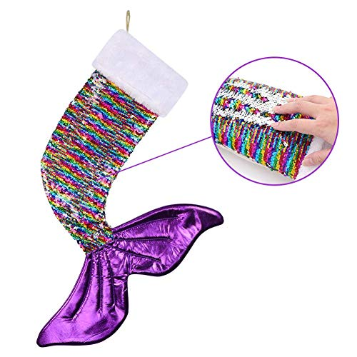 Aytai Sparkly Mermaid Tail Christmas Stocking Magic Reversible Sequins Mermaid Stocking for Christmas Decorations, Purple Tail Stocking Holiday Xmas Socks Supplies, 23 x 17inch -