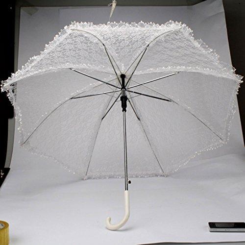 Elegante de novia de encaje de la boda Paraguas Blanco Parasol