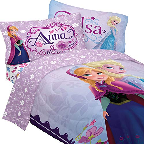 cess Anna & Elsa Full Comforter & Sheet Set T (5 Piece Bed In A Bag) by Disney ()