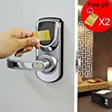 Keyless Smart Security Electronic Touch screen Keypad Door Lock Latch or Deadbolt Reversible Lever Handle Home Use Entry 6600-101 Silver (Latch)