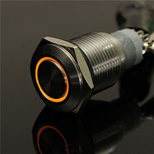 (CynKen Orange 12V 16mm Angel Eye Metal illuminated LED Push Button Switch Car Dash )