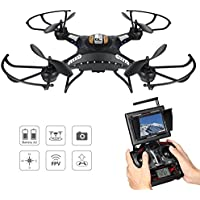 Drone with Camera, Potensic F183DH Drone RC Quadcopter RTF Altitude Hold UFO with Newest Hover Function,2MP Camera& 5.8Ghz FPV LCD Screen Monitor-(Black)