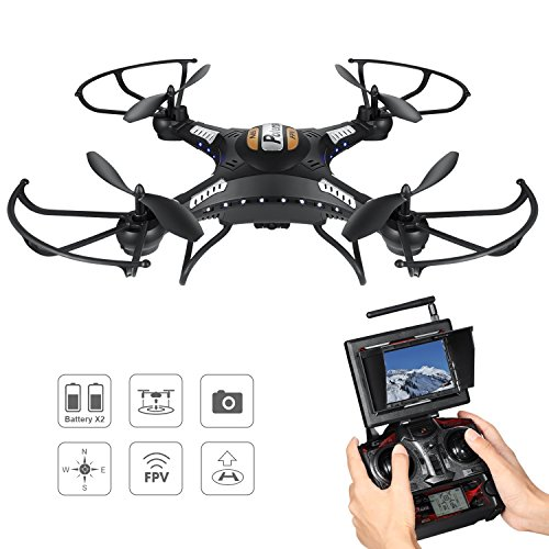 Drone with Camera, Potensic F183DH Drone RC Quadcopter RTF Altitude Hold UFO with Newest Stepless-speed Function,2MP Camera& 5.8Ghz FPV LCD Screen Monitor - Black by Potensic
