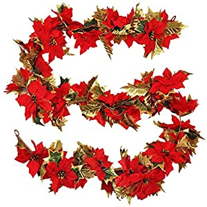 GTIDEA Fireplace Mantle Decor, 9 Feet Artificial Poinsettia Garland Fake Silk Christmas Hanging Vine with Gold Holly Leaves for Xmas Home Dining Room Deck Railing Staircase Decorations