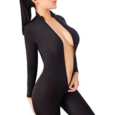 bbac200cbc Women Sexy Bodysuit Zipper Long Sleeve Open Crotch Lingerie Jumpsuit  Bodystocking Crotchless Sheer for Sex  Amazon.co.uk  Clothing