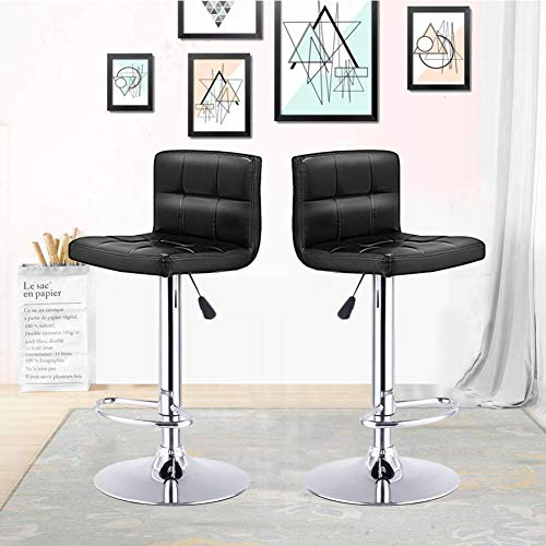 GentleShower Barstools, Set of 2 Modern Square PU Leather Adjustable Height Swivel Bar Stools Pub Chairs with Backrest Black