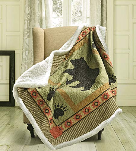 Virah Bella Bear and Paw Quilt Throw with Sherpa Backing (Black Bear Throws)