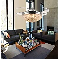 Siljoy Dimmable Ceiling Fans with Lights and Remote 3 Color Changing Retractable Crystal Invisible Chandelier Fan-Chrome 36