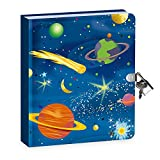"""Peaceable Kingdom Deep Space Glow in the Dark 6.25"""" Lock and Key, Lined Page Diary for Kids"""