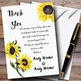 Stunning Watercolour Sunflower Personalized Wedding Thank You Cards