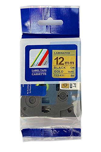 Compatible TZ831 TZe831 TZ-831 TZe-831 Label Tape for Brother P-Touch Printers, Black on Gold Tape, 12mm(W) x 8m(L)
