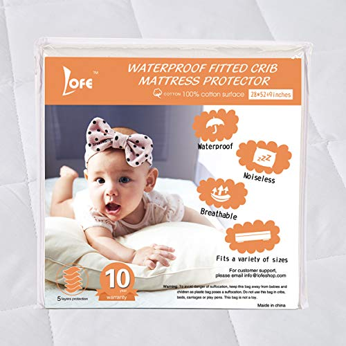 Lofe Cotton Fitted Crib Mattress Protector Waterproof - Infa