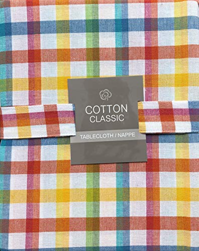 Cotton Classic Tablecloth Colorful Plaid Bistro Check Stripes Pattern - 60 Inches Round