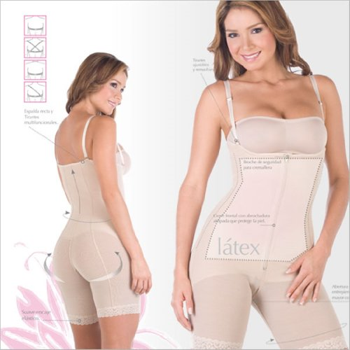 Body Shapers For Women Powernet with Latex Braless Body Girdle Capri Length ...