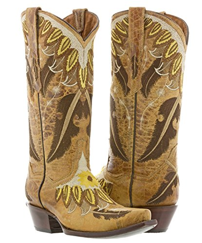 Cowboy Professional - Women's Sand Feather Leather Cowboy Cowgirl Boots 9 Medium (B,M) -