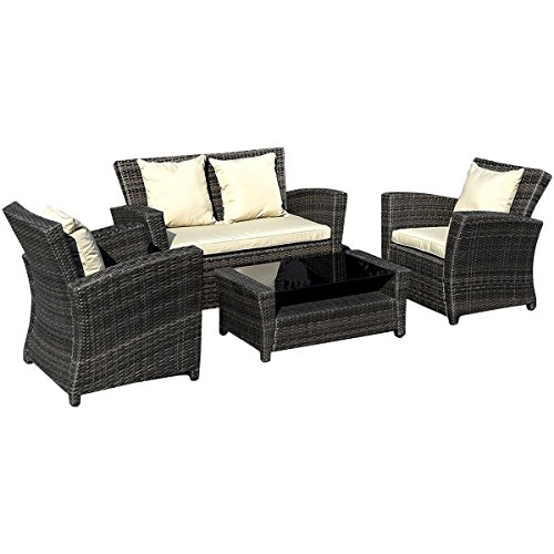 Tangkula Furniture Backyard Sectional Conversation Key Pieces
