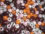 Sports Beads Football Soccer Basketball Baseball 60 pcs