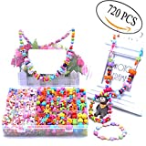 720 Pcs Beads Set for Kids Jewelry Making Craft DIY Beads Kit,24 Different Types DIY Beads Kit for Children Kids Girls Jewelry Necklace Bracelets Making Ideal Arts & Crafts Beads Girls Gift