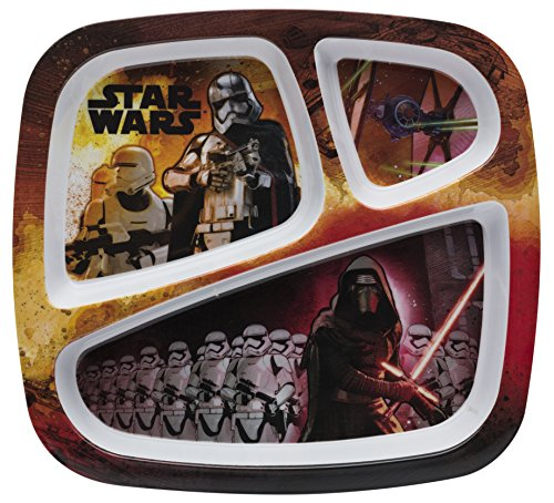 Zak! Designs 3-section Plate with Star Wars The Force Awakens Graphics, BPA-free - 3 Bowl Section