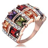 2015 New Gold 18k Rose Gold Color Retention Austrian Crystal Square Ring 0273 (19mm)