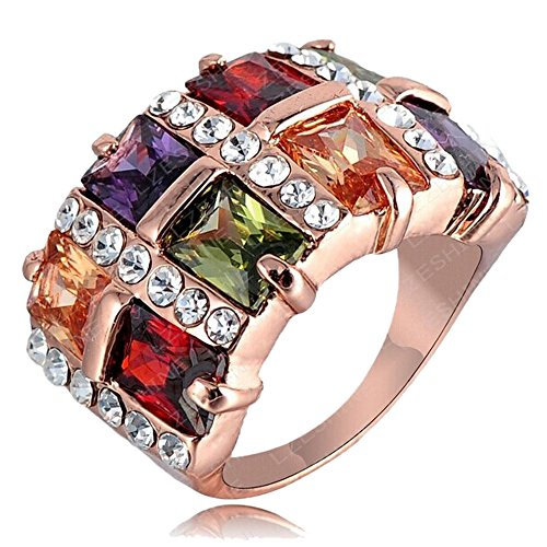 2015 New Gold 18k Rose Gold Color Retention Austrian Crystal Square Ring 0273 (17mm)