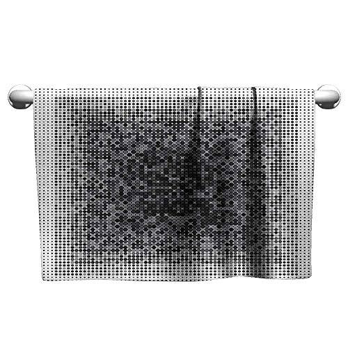 (duommhome Modern Art Home Decor Soft Bath Towel Digital Futuristic Pixel Tech-Art with Dots Spots Artificial Pattern W31 x L63 Grey Black)