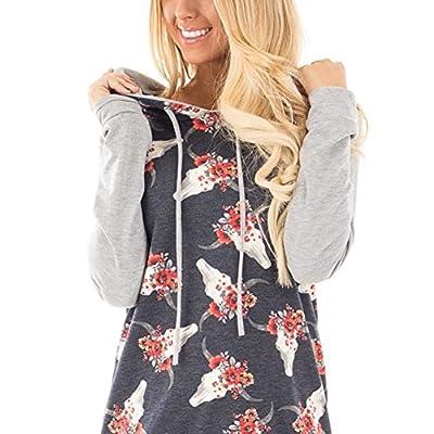 HOOYON Women's Floral Sweatshirt Casual Long Sleeve Hoodie Pullover Tops