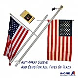 A-One 6Ft Brushed Aluminum Tangle Free Flag Pole - Heavy Duty Classical American US Outdoor Wall Mount FlagPole Kit for Residential or Commercial, Wind Resistant & Rust Free. Silver