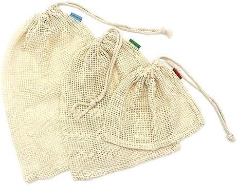 Bolsa de algodón reutilizable OneChois para frutas y verduras Juego de 6 (2S, 2M, 1L) + Bolsa de tela 1x Redes de compra duraderas y lavables con peso de tara en las