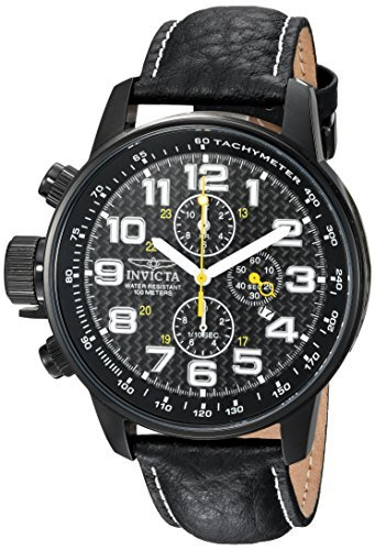(Invicta Men's 'I-Force' Quartz Stainless Steel and Leather Casual Watch, Color Black (Model: 90068))