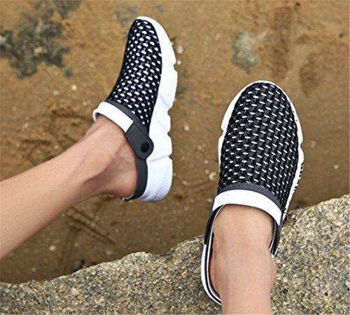 Enfiler Été Chaussures de Sabots Femmes Sandale à Mules Hommes Noir Plage Clog wS8vxqC