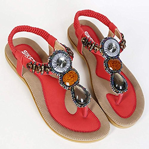 Ouneed Summer Women Sandals Fashion Sweet Beaded Clip Toe Flats Bohemian Herringbone Sandals Red MWB3lAAqvm