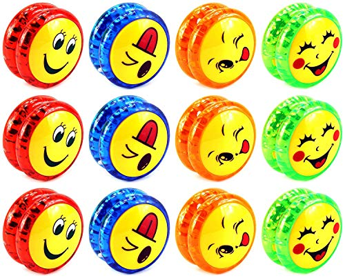 AJ Toys & Games 12 PCS Yoyo 'Smiley Faces' Light Up Children's Kid's Toy Yoyo (Colors May Vary) by AJ Toys & Games