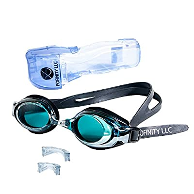 Pofinity Best Adult Mirrored Swim Goggles With Case