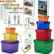 Amazon Lightning Deal 85% claimed: 1 Day Sale -7 Piece Portion Control Containers Colored Set Meal Prep Kit for Weight Loss +21 Day PDF Planner +Recipe E-Book+Healthy Lifestyle E-Book+W/Guide+Measuring Tape-Same as 21 Day Fix Beachbody