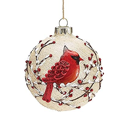 burton and burton round glass red cardinal christmas ornament 4 - Red Cardinal Christmas Decorations