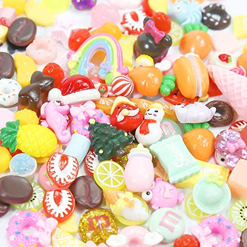 - Habbi Slime Charms Set,180pcs Slime Charms Mixed Fruit Candy Food Resin Flatback Cute Slime Beads for DIY Crafts Making, Ornament Scrapbooking
