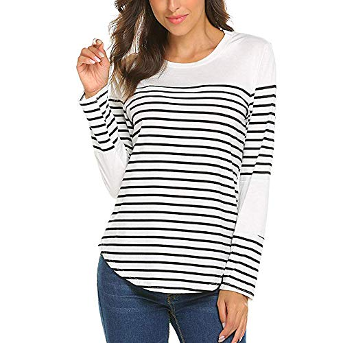TOOPOOT Womens Crewneck Top Striped Patchwork Sweathirts Tunic Long Sleeve Pullover White